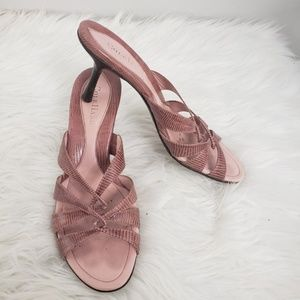Cole Haan Pink Leather Twist Strap Sandals